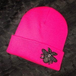 NORDSTROM Hot Pink hat OS w/ rhinestone detail